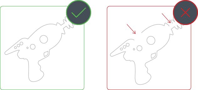 Part designs should not have open contours or overlapping lines